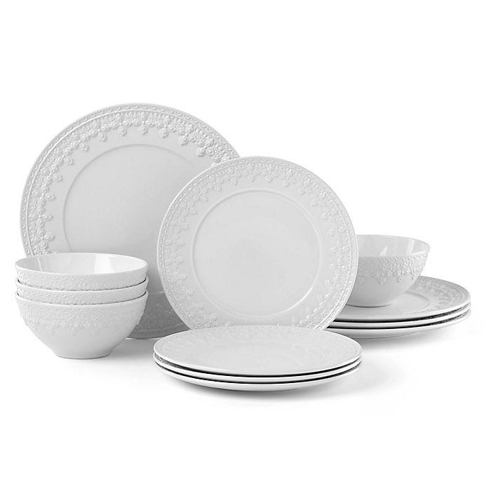 Alternate image 1 for Lenox® Chelse Muse Fleur Grey™ 12-Piece Dinnerware Set