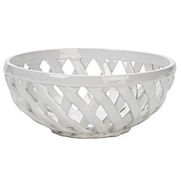 Modern Farmhouse Home Organic Bead Bread Basket in White
