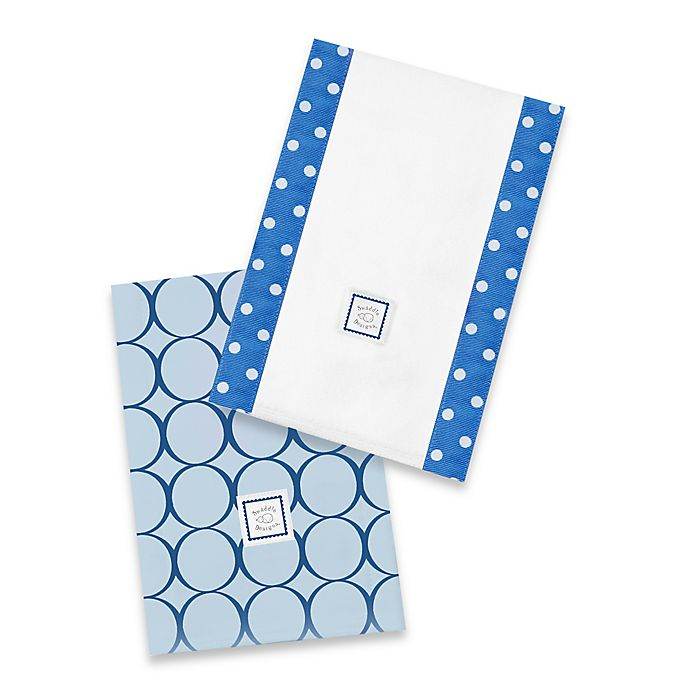 Alternate image 1 for Swaddle Designs® Jewel Tone Mod Circles Baby Burpies® in True Blue (Set of 2)