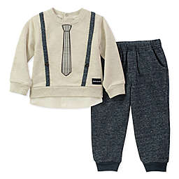 CK Suspender Tie 2-Piece Top and Pant Set in Oatmeal/Navy