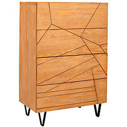 Alpine Furniture Trapezoid Drawer Chest in Wheat