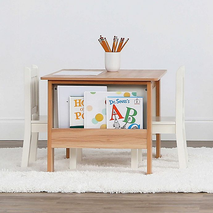 Alternate image 1 for Tot Tutors 3-Piece Journey Storage Table and Chairs Set in Natural