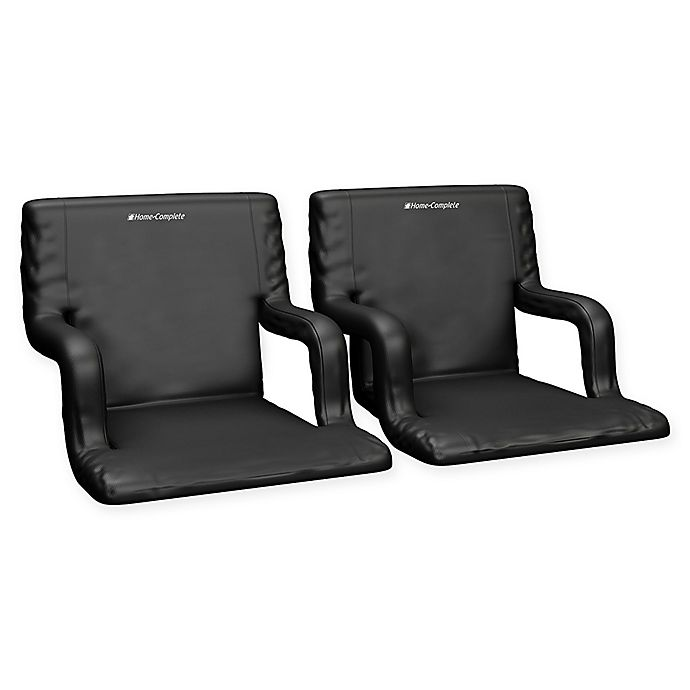 Alternate image 1 for Home-Complete Stadium Chairs in Black (Set of 2)
