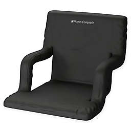 Home-Complete Stadium Chair with Wide Bleacher Cushion in Black