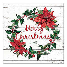 """Designs Direct """"Merry Christmas Wreath"""" 20-Inch Square Canvas Wall Art"""
