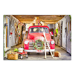 """Designs Direct """"Vintage Christmas Truck"""" 12-Inch x 18-Inch Canvas Wall Art"""