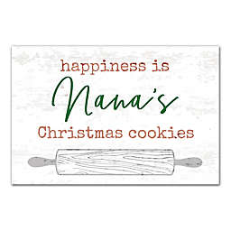 Designs Direct Happiness is Christmas Cookies 18-Inch x 12-Inch Canvas Wall Art in White