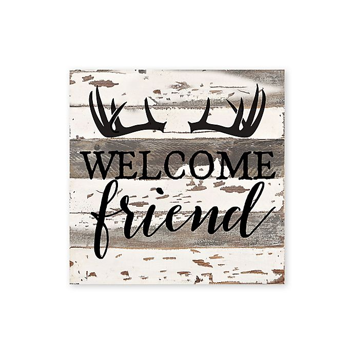 Alternate image 1 for Sweet Bird & Co. Welcome Friend Antlers Reclaimed Wood Wall Art