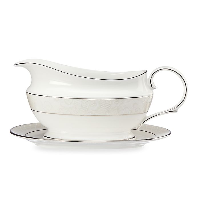 Alternate image 1 for Lenox® Venetian Lace™ Gravy Boat and Stand