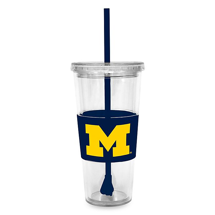 Alternate image 1 for Double Wall 22-Ounce Tumbler with Lid & Straw - University of Michigan