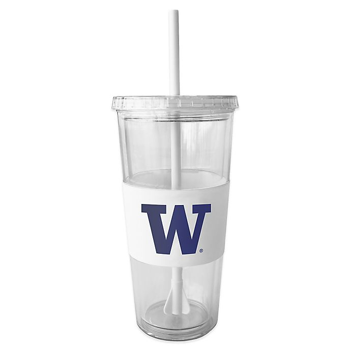 Alternate image 1 for Double Wall 22-Ounce Tumbler with Lid & Straw - University of Washington