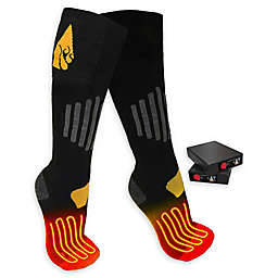 ActionHeat™ Unisex Small/Medium 3.7V Rechargeable Battery Heated Socks in Black/Yellow