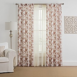 Marakesh 4-Pack Printed Voile Rod Pocket Window Curtain Panels in Berry