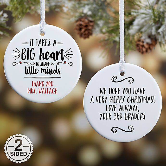Alternate image 1 for 2 Sided Glossy It Takes A Big Heart Personalized Teacher Ornament- Small