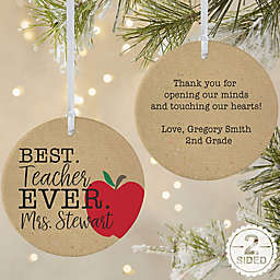 2-Sided Matte Best.Teacher.Ever Personalized Ornament- Large