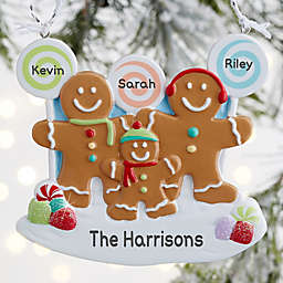Gingerbread Family Personalized Ornament- 3 Name