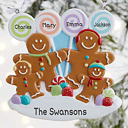 Gingerbread Family Personalized Ornament- 4 Name