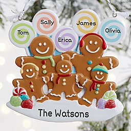Gingerbread Family Personalized Ornament- 5 Name