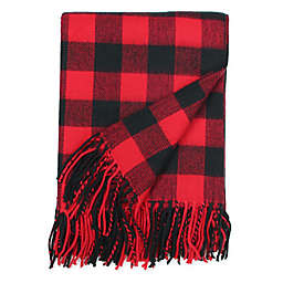 Rustic Flannel Throw Blanket in Black/Red