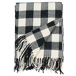 Rustic Flannel Throw Blanket in Black/White