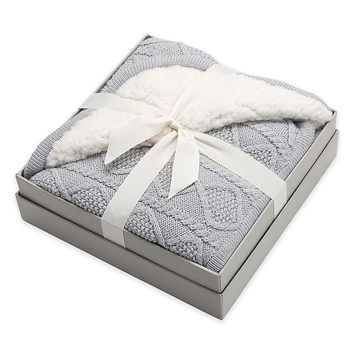 Alternate image 1 for Elegant Baby® Faux Fur Cable Knit Blanket in Grey