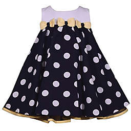 Bonnie Baby Polka Dot & Bow Sleeveless Dress in Navy/Yellow