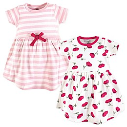 Touched by Nature 2-Pack Stripes and Flowers Short Sleeve Dresses in Pink