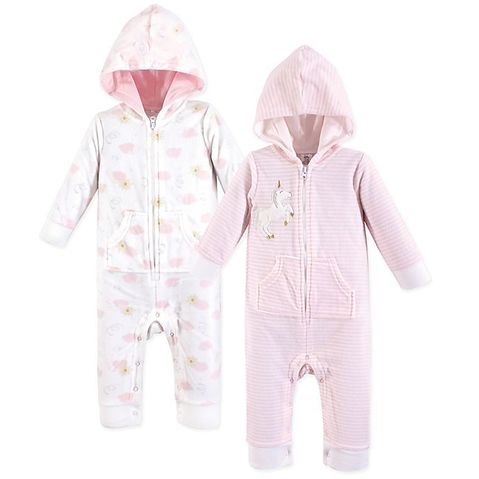 Alternate image 1 for Yoga Sprout 2-Pack Unicorn Hooded Union Suit in Pink