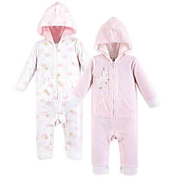 Yoga Sprout 2-Pack Unicorn Hooded Union Suit in Pink