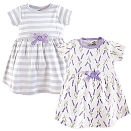 Touched by Nature Size 2-Pack Lavender Short Sleeve Organic Cotton Dresses