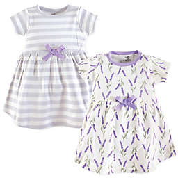 Touched by Nature Size 0-3M 2-Pack Lavender Short Sleeve Organic Cotton Dresses