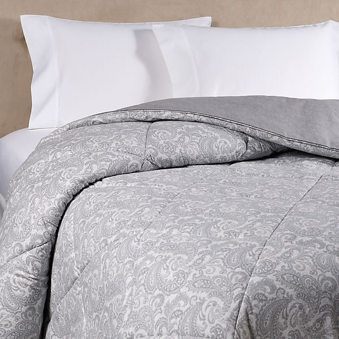 Alternate image 1 for The Seasons Collection® HomeGrown™ Flannel Paisley Full/Queen Comforter in Grey