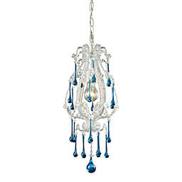 ELK Lighting Opulence 1-Light Pendant in Antique White/Aqua Crystals