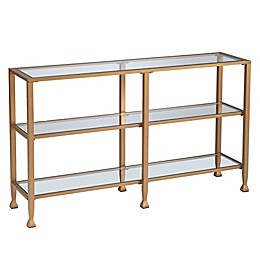 Southern Enterprises Jaymes Metal and Glass Narrow Console Table with Shelves in Soft Gold