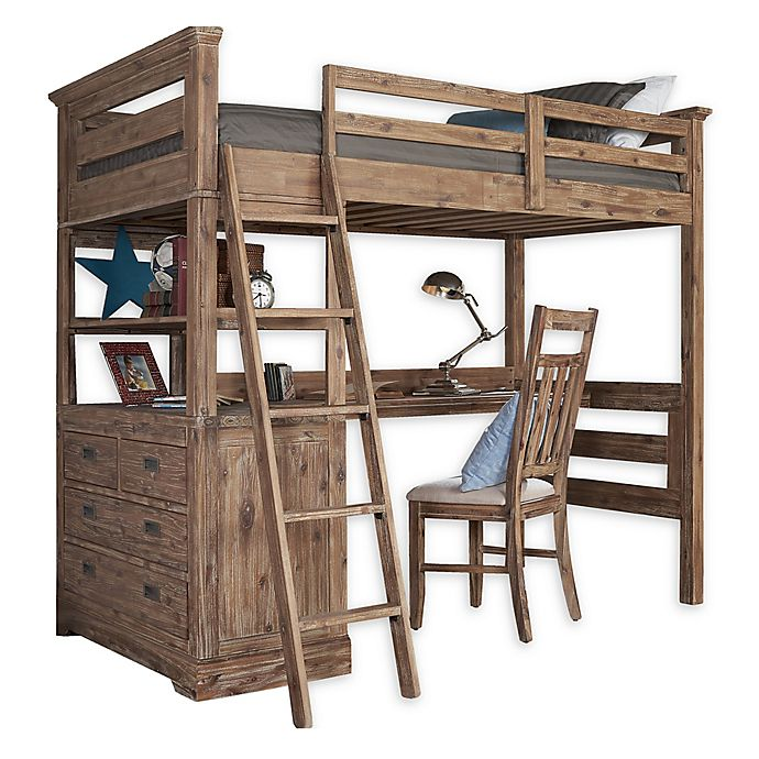 Alternate image 1 for Hillsdale Furniture Oxford Oliver Twin Loft Bed with 4-Drawer Chest and Desk in Cocoa