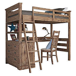 Hillsdale Furniture Oxford Oliver Twin Loft Bed with 4-Drawer Chest and Desk in Cocoa