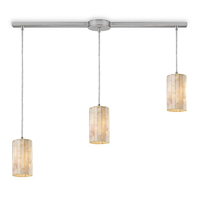Alternate image 1 for ELK Lighting Piedra 3-Light Genuine Stone Linear Pendant in Satin Nickel