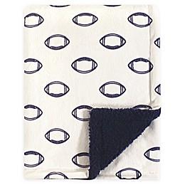 Hudson Baby® Football Mink Sherpa Blanket in Beige/Blue