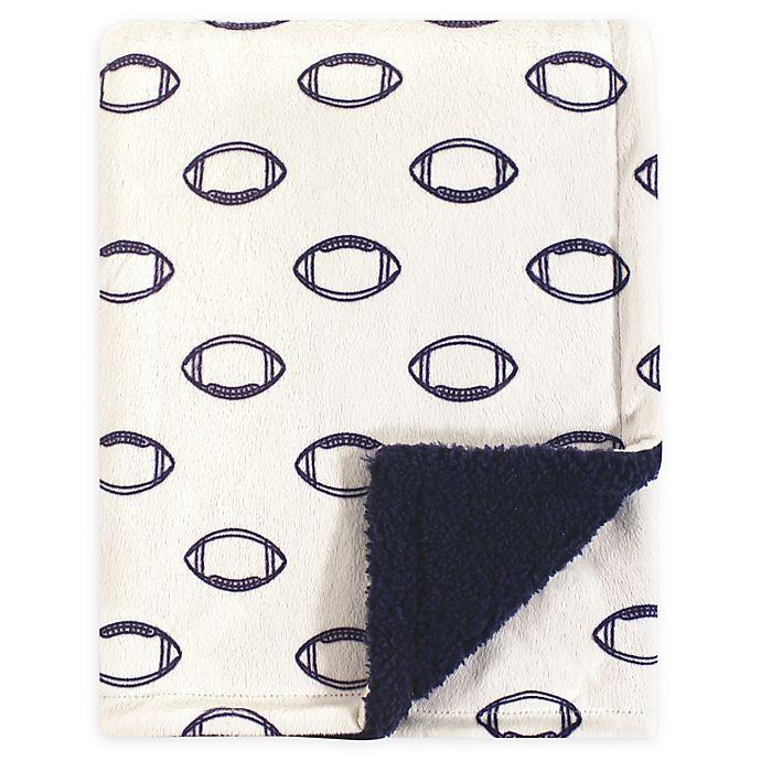 Alternate image 1 for Hudson Baby® Football Mink Sherpa Blanket in Beige/Blue
