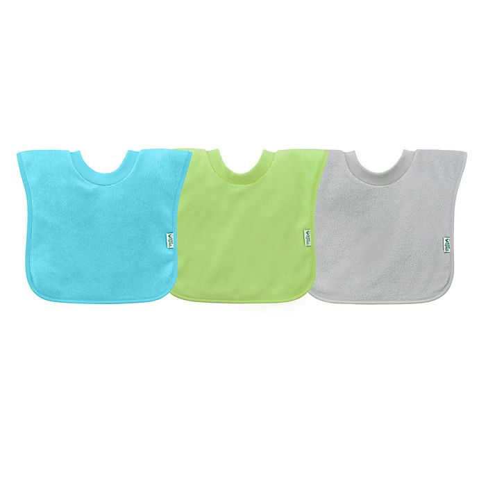 Alternate image 1 for green sprouts®  3-Pack Pull-Over Stay-Dry Bibs in Aqua