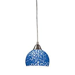 ELK Lighting Cira 1-Light Pendant Satin Nickel/Pebbled Blue