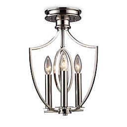 ELK Lighting Dione 3-Light Semi-Flush Mounted Ceiling Lamp in Polished Nickel
