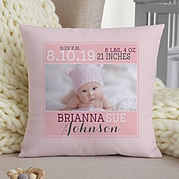 Darling Baby Girl Personalized 14-Inch Square Keepsake Pillow