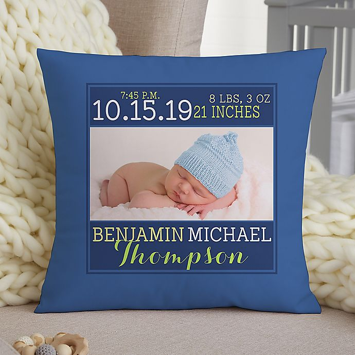 Alternate image 1 for Darling Baby Boy Personalized 14-Inch Square Throw Pillow