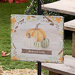 Autumn Pumpkins Light Wash Personalized Slate