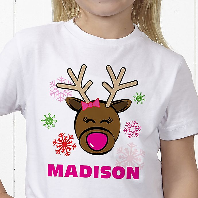 Alternate image 1 for Christmas Reindeer Personalized Hanes® Youth T-Shirt