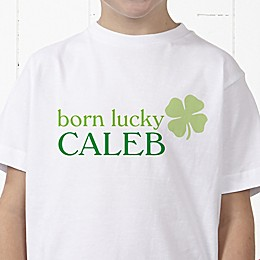 Born Lucky Personalized Hanes® Youth T-Shirt