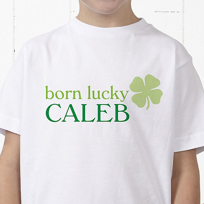 Alternate image 1 for Born Lucky Personalized Hanes® Youth T-Shirt