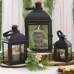 Laurels Of Love Personalized Candle Lantern 3 Piece Set