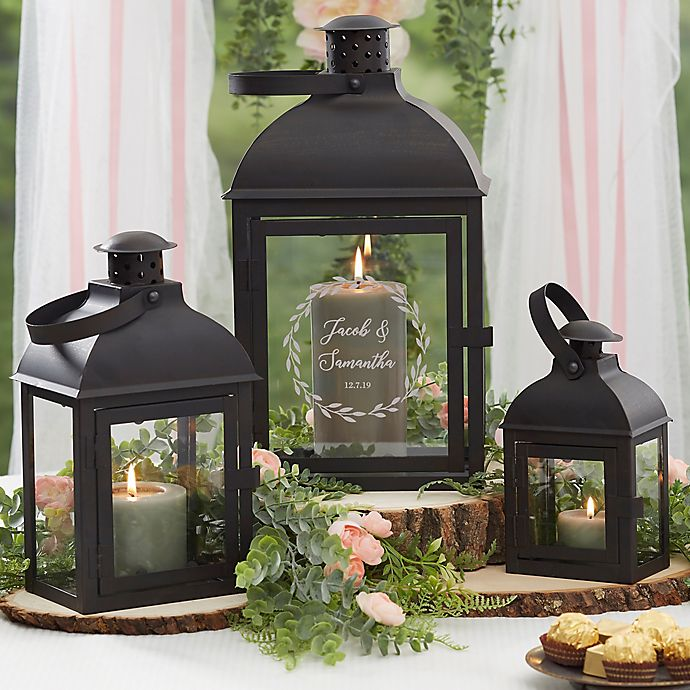 Alternate image 1 for Laurels Of Love Personalized Candle Lantern 3 Piece Set